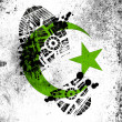 Islam symbol painted on whiteboard with dirty footprint on it — Stock Photo