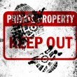 Keep out sign painted on whiteboard with dirty footprint on it — Stock Photo