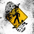 Pedestrian road sign painted on whiteboard with dirty footprint on it — Stock Photo #15004153