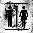 Toilet sign painted on whiteboard with dirty footprint on it — Stock Photo #15007063