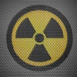 Nuclear radiation symbol painted on metall grill — Lizenzfreies Foto