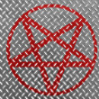 Stock Photo: Pentagram symbol painted on metal floor