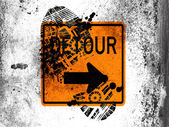 Detour road sign painted on whiteboard with dirty footprint on it — Stock Photo
