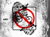 No bicycle road sign painted on whiteboard with dirty footprint on it — Stock Photo