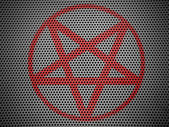 Pentagram symbol painted on metall grill — Stock Photo