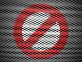 Forbidden sign painted on metall grill — Stock Photo