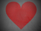 Red Heart symbol painted on metall grill metall grill — Stock Photo
