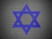Judiska star målade på metall grill — Stockfoto