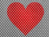 Red Heart symbol painted on metal floor — Stok fotoğraf