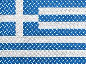 Grecką banderą — Zdjęcie stockowe