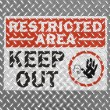 Stock Photo: Restricted aresign painted on metal floor