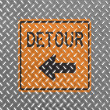 Stock Photo: Detour road sign painted on metal floor