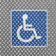 Disabled road sign painted on metal floor — Stockfoto