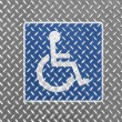Disabled road sign painted on metal floor — Stock Photo