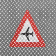 Low flying aircraft or sudden aircraft noise road sign painted on metal floor — Foto Stock