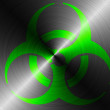 Stock Photo: Biohazard sign painted on brushed metall