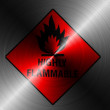 Stock Photo: Highly flammable sign drawn on brushed metall