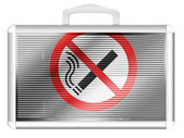 No smoking sign drawn at metal aluminum case — Stock Photo