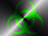 Biohazard sign painted on brushed metall — Stock Photo