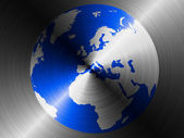 Globe painted on brushed metall — Stock Photo