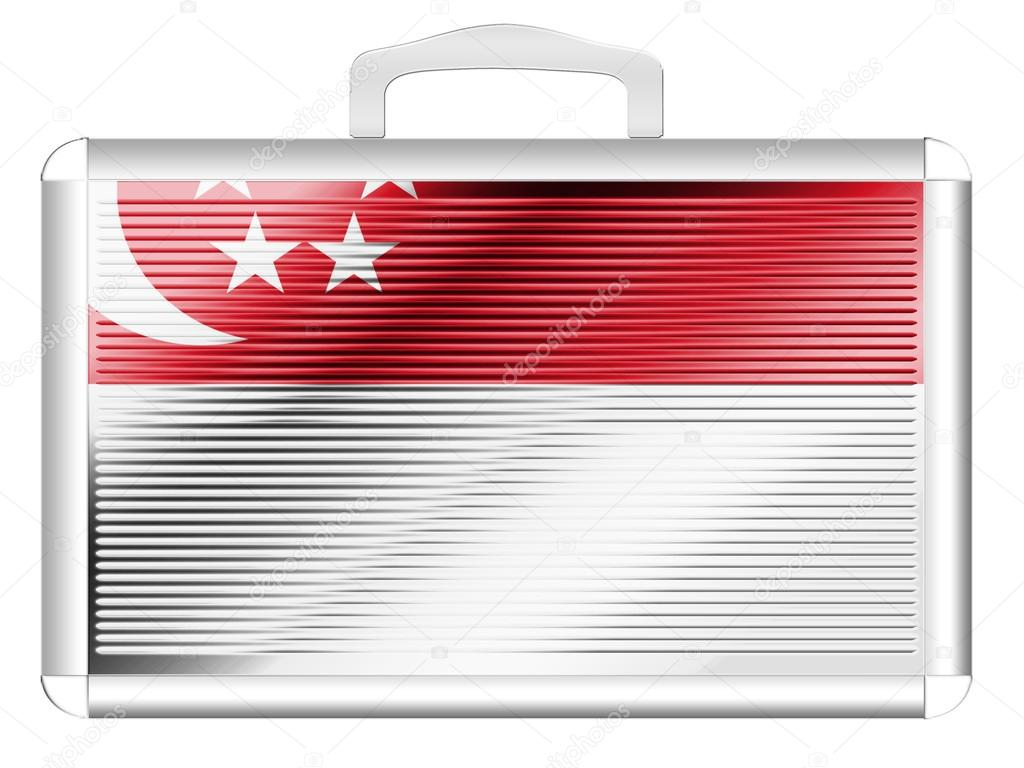 The Singapore flag painted on  metal aluminum case — Stock Photo #15368915