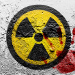 Stock Photo: Nuclear radiation symbol painted on grunge wall with bloody palmprint over it