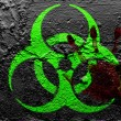 Biohazard sign painted on grunge wall with bloody palmprint over it - Stock Photo
