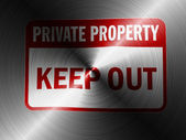 Keep out sign painted on brushed metall — Stock Photo