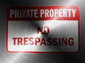 No trespassing sign painted on brushed metall — Stock Photo
