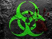 Señal de peligro biológico pintó en la pared de grunge con palmares sangriento — Foto de Stock