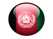 Afghanistan flag painted on glossy round sphere or icon — Stock Photo
