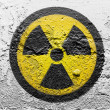 Stock Photo: Nuclear radiation symbol painted on grunge wall