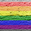 Stockfoto: Gay pride flag painted on