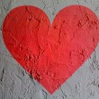 Red Heart symbol painted on wall — Stock Photo