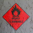 Stock Photo: Highly flammable sign drawn on wall