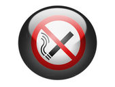 No smoking sign drawn at glossy round sphere or icon — Stock Photo