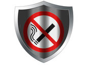 No smoking sign drawn at protection shield — Stock Photo