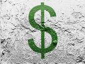 Dollar sign painted on grunge wall — Stockfoto