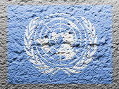 The UN flag painted on — Stock Photo