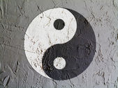 The Ying Yang sign painted on wall — Stock Photo