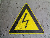Electric shock sign painted on wall — Stock Photo