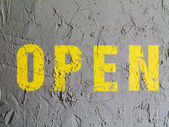 Open sign painted on wall — Foto de Stock