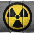 Nuclear radiation symbol painted on oil barrel — Stock Photo #15391601