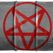 Pentagram symbol painted on oil barrel - Foto Stock