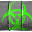 Stock Photo: Biohazard sign painted on oil barrel