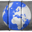 Globe painted on oil barrel — Stock Photo