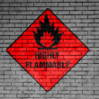 Stok fotoğraf: Highly flammable sign drawn on