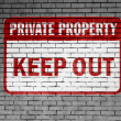 Stock Photo: Keep out sign painted on
