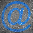 Email sign painted on metal surface covered with rain drops - Stock Photo