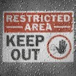 :Restricted area sign painted on metal surface covered with rain drops — Stock Photo #15398879